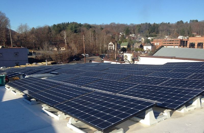 An image of the rooftop solar units on The Cooperage Project in Honesdale.