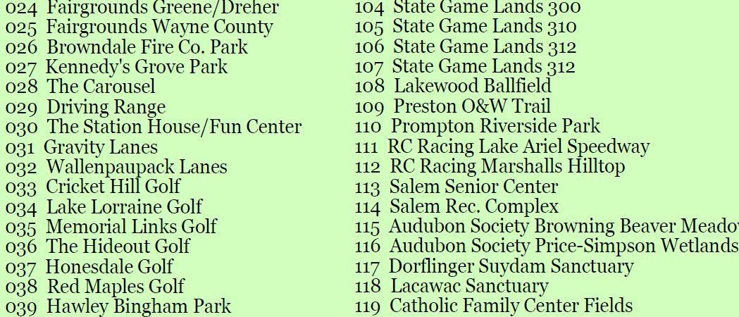An image showing a partial listing of the recreational venues in the county recreation brochure.