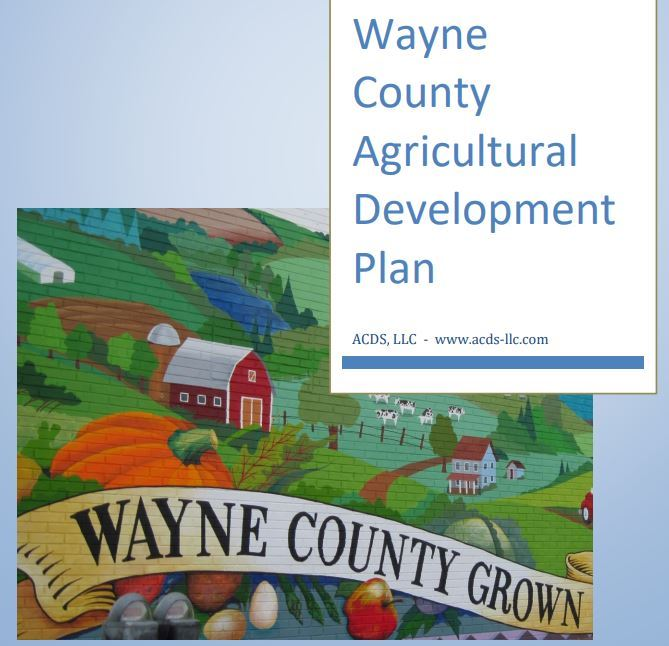 An image of the cover of the Wayne County Agriculture Development Plan, featuring a picture of Wayne