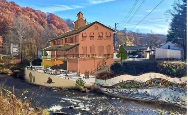 An artists rendering of a potential recreation facility along the Lackawaxen River in Honesdale.