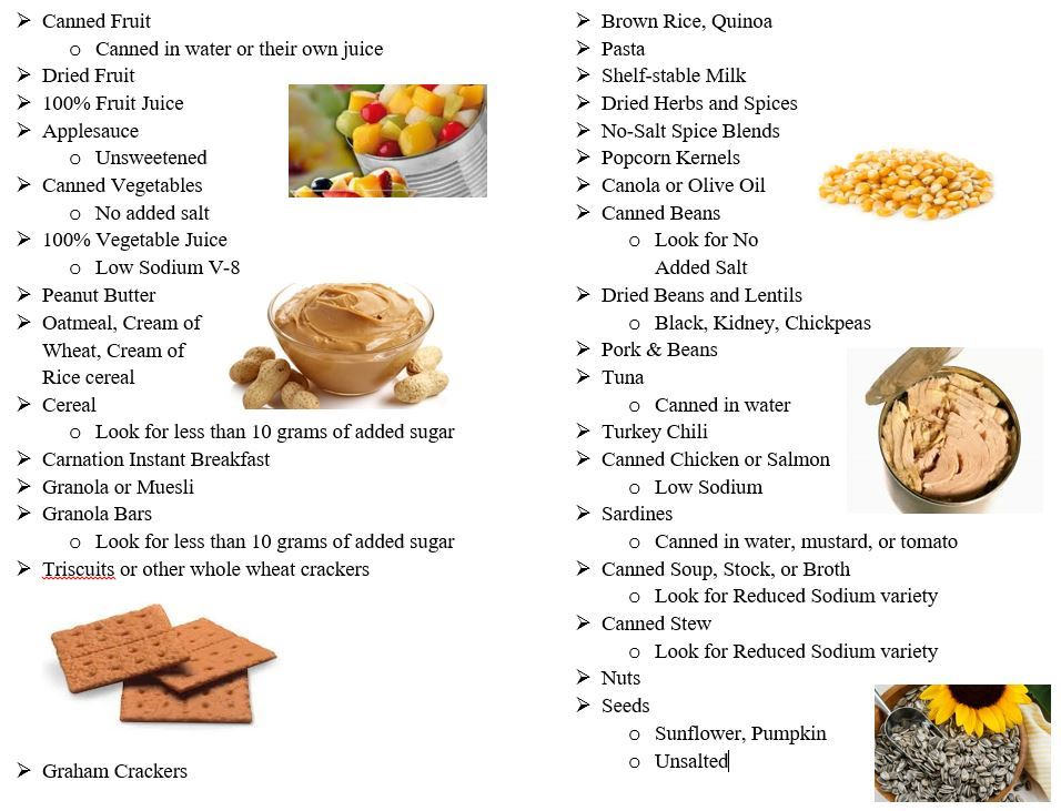 A graphic list of healthier food items for donation to the local food pantries.