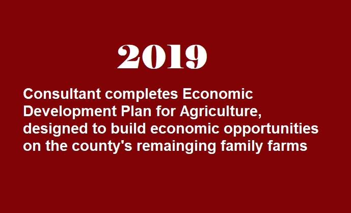 In 2019, the consultant completes the Economic Development Plan for Agriculture, designed to build o