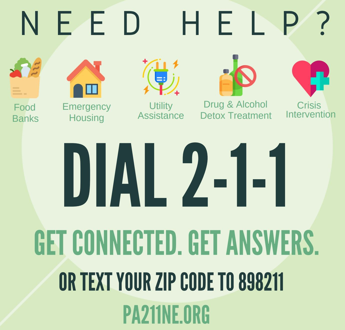 An image promoting the 211 Human Services Information & Referral line and website