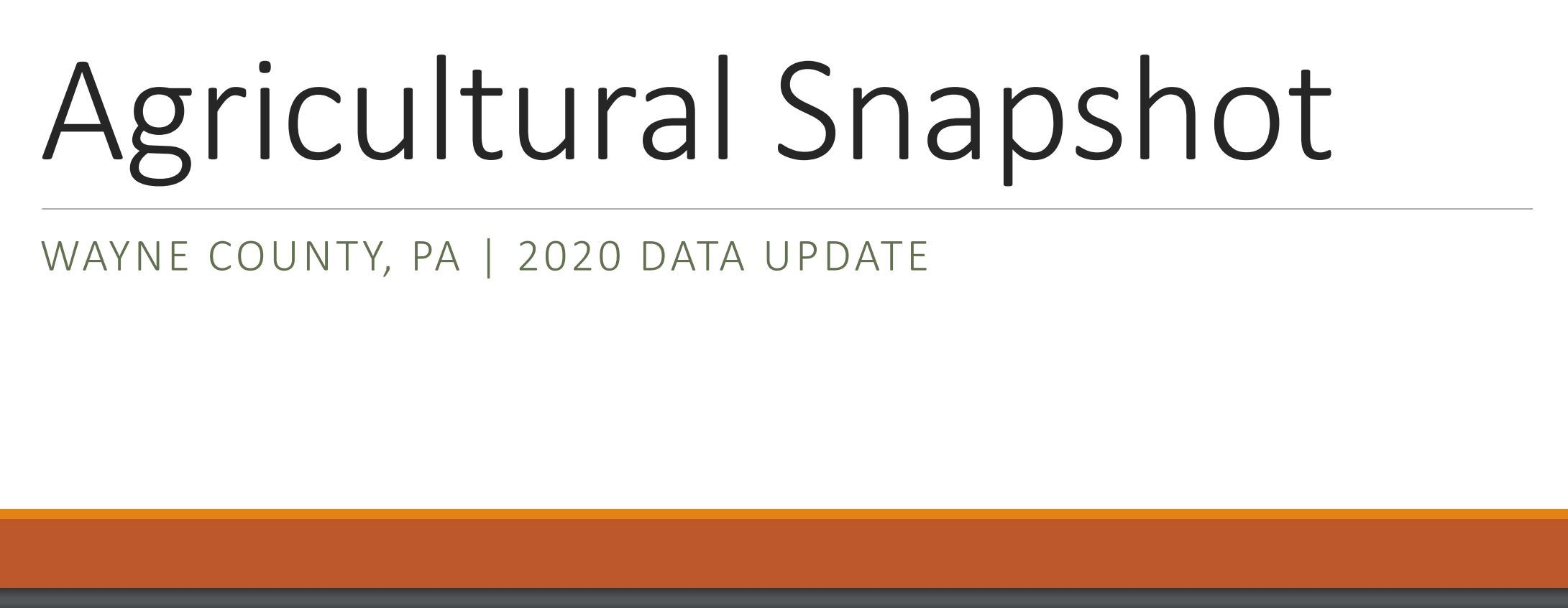 An image of the Agricultural Snapshot 2020 Cover linking to a document containing the most up to dat