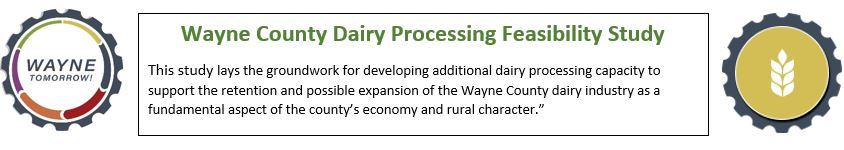 A banner image linking to the Wayne County Dairy Processing Feasibility Study