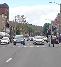 A photo of a crosswalk on downtown Honesdale's busy Main Street.