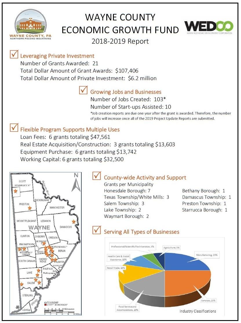 A graphic report of the impact of the Wayne County Economic Growth Fund in 2018 and 2019.