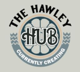 A logo for the new Hawley Hub community space in downtown Hawley.